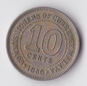Malaya, George VI, 10 Cents 1950, VF, WB2218